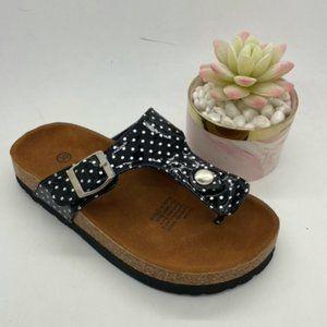 Girls Shoes Grosby Olivia Black Spot Thong Sandal